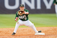 Matt Creech (11) of the Charlotte 49ers fields a throw at second base during the game against the High Point Panthers at Willard Stadium on February 20, 2013 in High Point, North Carolina.  The 49ers defeated the Panthers 12-3.  (Brian Westerholt/Four Seam Images)