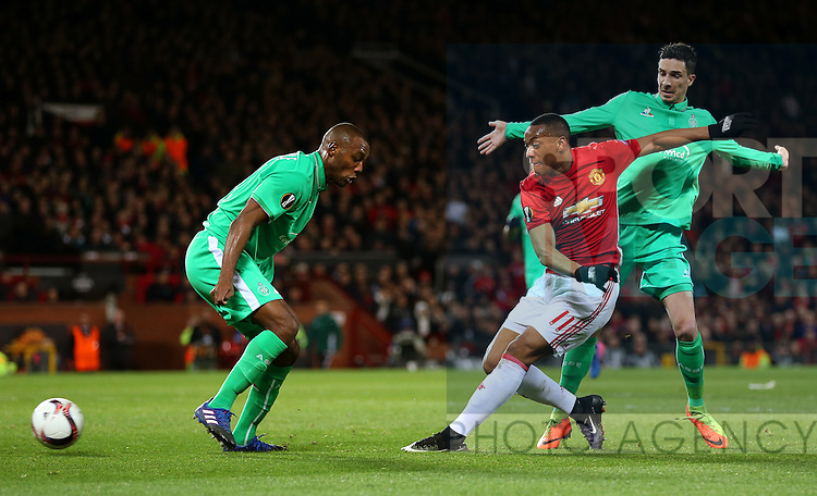 Anthony Martial of Manchester United fires a shot at goal  during the UEFA Europa League Round of 32 1st leg match at Old Trafford Stadium, Manchester. Picture date: February 16th, 2017. Pic credit should read: Matt McNulty/Sportimage