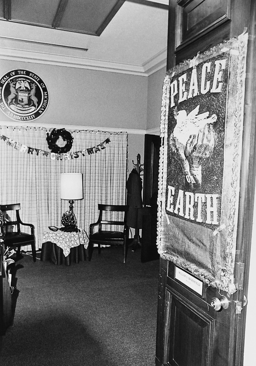 Rep. William Broomfield, R-Mich., decorated office door around Christmas. (Photo by Dev O'Neill/CQ Roll Call via Getty Images)