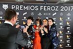 Javier Calvo, Belen Cuesta, Brays Efe and Javier Ambrossi win the award at Feroz Awards 2017 in Madrid, Spain. January 23, 2017. (ALTERPHOTOS/BorjaB.Hojas)