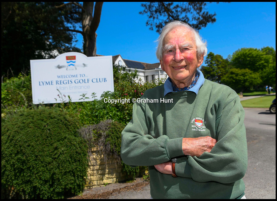BNPS.co.uk (01202 558833)<br /> Pic: GrahamHunt/BNPS<br /> <br /> Lindley Baker at Lyme Regis Golf Club, Dorset.<br /> <br /> One of Britain's oldest golfers has swung himself into the record books at the age of 97.<br /> <br /> Sprightly Lindley Baker has been a member of the same Dorset club since 1937, making him the country's longest-paying golf club member. <br /> <br /> Since joining 80 years ago Mr Baker has struck the ball a whopping 330,000 times and completed more than 4,000 rounds. <br /> <br /> The par 71 Lyme Regis Golf Club course is 5,688 yards long, meaning that over the years Mr Baker has walked nearly 13,000 miles there, which is half way around the world.