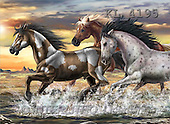 Interlitho, Lorenzo, REALISTIC ANIMALS, paintings, 3 horses, beach(KL4195,#A#) realistische Tiere, realista, illustrations, pinturas ,puzzles