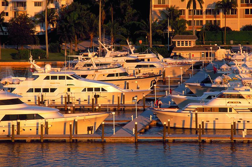 Mega Yahcts at dock, Palm Beach, Florida