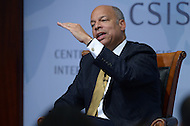 Washington, DC - October 9, 2014: U.S. Secretary of Homeland Security, Jeh Johnson, speaks about border security and immigration at the Center for Strategic and International Studies in the District of Columbia, October 9, 2014.  (Photo by Don Baxter/Media Images International)