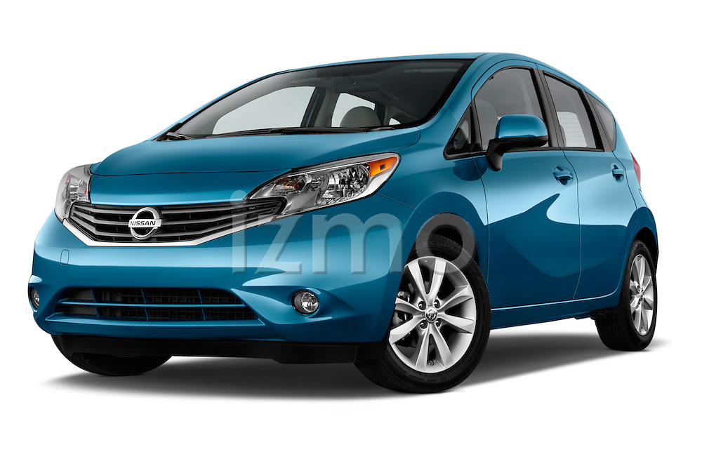 Low aggressive front three quarter view of a 2014 Nissan Versa Note SV SL Hatchback2014 Nissan Versa Note SV SL Hatchback