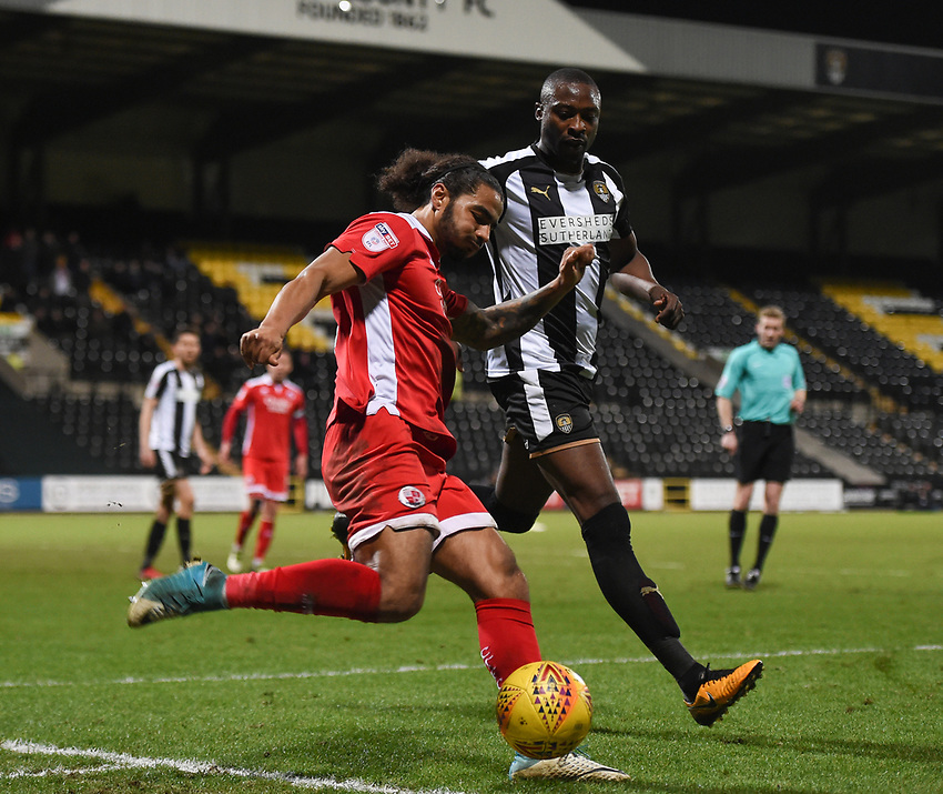 Notts County's Shola Ameobi battles with  Crawley Town&rsquo;s Josh Lelan<br /> <br /> Photographer Jon Hobley/CameraSport<br /> <br /> The EFL Sky Bet League Two - Notts County v Crawley Town - Tuesday 23rd January 2018 - Meadow Lane - Nottingham<br /> <br /> World Copyright &copy; 2018 CameraSport. All rights reserved. 43 Linden Ave. Countesthorpe. Leicester. England. LE8 5PG - Tel: +44 (0) 116 277 4147 - admin@camerasport.com - www.camerasport.com