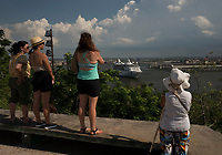HAVANA, CUBA- JUNE 5: People look as Empress of the Seas cruise ship departures during the last day in Havana on June 5, 2019. Cruise ships will no longer operate to  Cuba. Trump administration banned cruises, private yachts and fishing vessels from visiting Cuba,  (Photo by Eliana Aponte/VIEWpress)