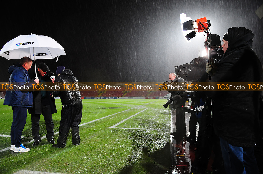 Oxford United manager Chris Wilderchats to BT Sport Presenters after the game is called off - Gateshead vs Oxford United - FA Cup 1st Round Replay at the Gateshead International Stadium - 20/11/13 - MANDATORY CREDIT: Steven White/TGSPHOTO - Self billing applies where appropriate - 0845 094 6026 - contact@tgsphoto.co.uk - NO UNPAID USE<br />  - Gateshead vs Oxford United - FA Cup 1st Round Replay at the Gateshead International Stadium - 20/11/13 - MANDATORY CREDIT: Steven White/TGSPHOTO - Self billing applies where appropriate - 0845 094 6026 - contact@tgsphoto.co.uk - NO UNPAID USE