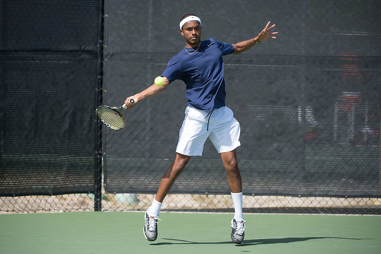 April 23, 2014; San Diego, CA, USA; Gonzaga Bulldogs player Muzeen Ismath during the WCC Tennis Championships at Barnes Tennis Center.