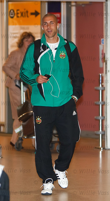 Rapid Vienna's striker Mario Konrad looking cool at Glasgow airport