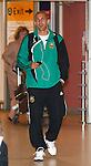 Rapid Vienna's striker Mario Konrad looking cool at Glasgow airport
