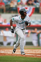 Daytona Tortugas center fielder Taylor Trammell (5) runs to first base runs to first base during a game against the Florida Fire Frogs on April 7, 2018 at Osceola County Stadium in Kissimmee, Florida.  Daytona defeated Florida 4-3 in a six inning rain shortened game.  (Mike Janes/Four Seam Images)