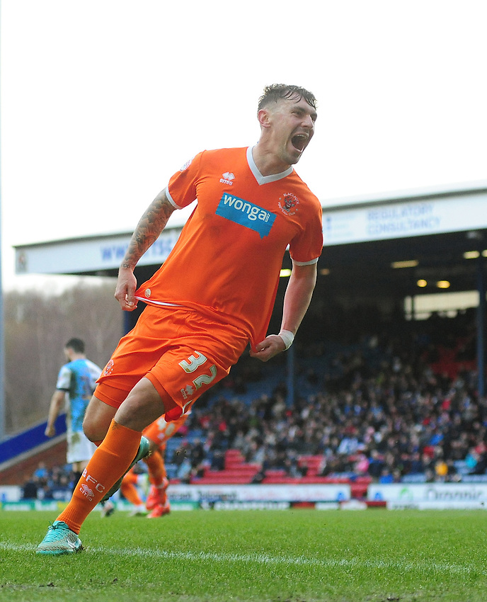Blackpool's Grant Hall celebrates scoring his sides equalising goal to make the score 1-1<br /> <br /> Photographer Chris Vaughan/CameraSport<br /> <br /> Football - The Football League Sky Bet Championship - Blackburn Rovers v Blackpool - Saturday 21st February 2015 - Ewood Park - Blackburn<br /> <br /> &copy; CameraSport - 43 Linden Ave. Countesthorpe. Leicester. England. LE8 5PG - Tel: +44 (0) 116 277 4147 - admin@camerasport.com - www.camerasport.com