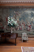 Detail of one of the tapestries in the music room