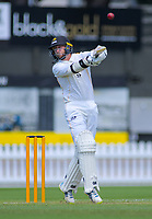Wellington's Devon Conway swings at a bouncer during day two of the Plunket Shield cricket match between the Wellington Firebirds and Otago Volts at the Basin Reserve in Wellington, New Zealand on Tuesday, 22 October 2019. Photo: Dave Lintott / lintottphoto.co.nz