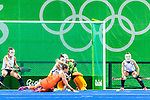 Willemijn Bos #7 of Netherlands dives to deflect the short corner shot during Netherlands vs Korea in a Pool A game at the Rio 2016 Olympics at the Olympic Hockey Centre in Rio de Janeiro, Brazil.