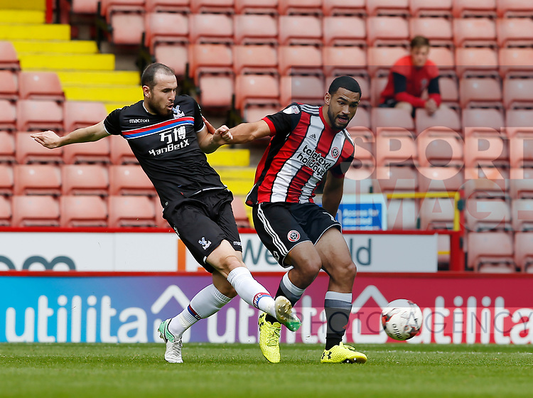 Jordan Match of Crystal Palace and Cameron Carter-Vickers of Sheffield Utd during the Professional Development U23 match at Bramall Lane, Sheffield. Picture date 4th September 2017. Picture credit should read: Simon Bellis/Sportimage