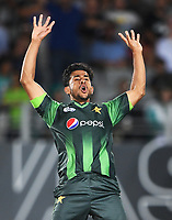 Hasan Ali celebrates the wicket of Wheeler.<br /> Pakistan tour of New Zealand. T20 Series.2nd Twenty20 international cricket match, Eden Park, Auckland, New Zealand. Thursday 25 January 2018. &copy; Copyright Photo: Andrew Cornaga / www.Photosport.nz