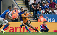 Raúl Jiménez of Wolves & Ben Chilwell of Leicester City during the Premier League match between Leicester City and Wolverhampton Wanderers at the King Power Stadium, Leicester, England on 10 August 2019. Photo by Andy Rowland.