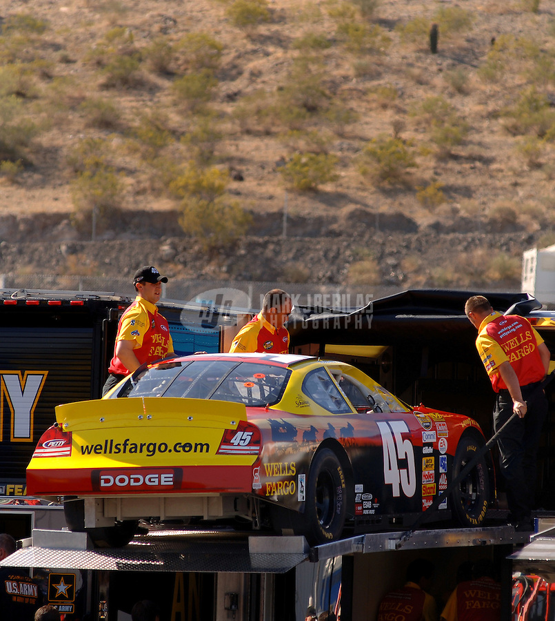 Apr 20, 2006; Phoenix, AZ, USA; The car of Nascar Nextel Cup racer Kyle Petty, driver of the (45) Wells Fargo Dodge Charger is unloaded from its hauler prior to practice for the Nextel Cup Subway Fresh 500 at Phoenix International Raceway. Mandatory Credit: Mark J. Rebilas-US PRESSWIRE Copyright © 2006 Mark J. Rebilas..