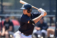 GCL Yankees 1 outfielder Dominic Jose (93) at bat during the first game of a doubleheader against the GCL Braves on July 1, 2014 at the Yankees Minor League Complex in Tampa, Florida.  GCL Yankees 1 defeated the GCL Braves 7-1.  (Mike Janes/Four Seam Images)
