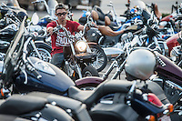 NWA Democrat-Gazette/ANTHONY REYES &bull; @NWATONYR<br /> Bikers gather Tuesday, Sept. 22, 2015 for the  unofficial kickoff for the Bikes, Blues and BBQ rally at Jose&rsquo;s Southwest Grill in Springdale. The event featured hundreds of motorcyclists, live music, a &quot;Bike of the Year&quot; contest and a motorcycle give away.