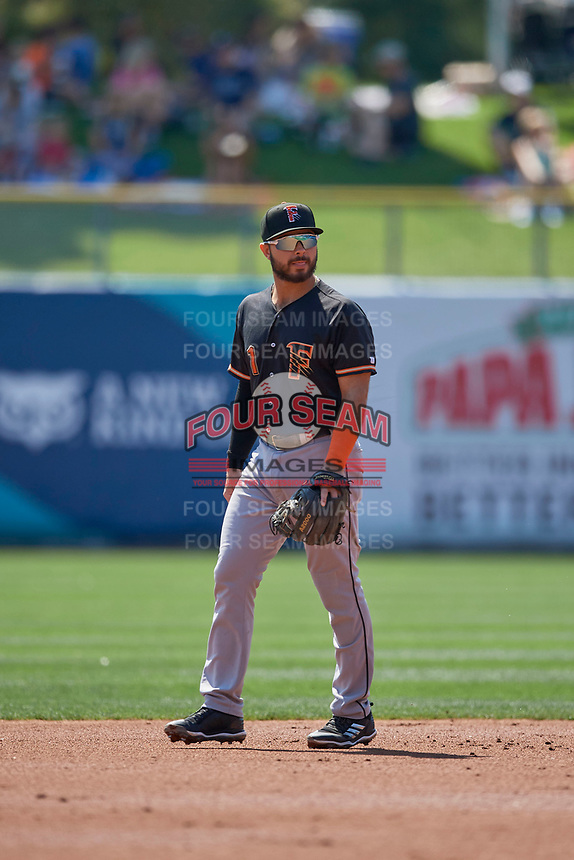 Alex De Goti (1) of the Fresno Grizzlies on defense against the Salt Lake Bees at Smith's Ballpark on September 3, 2018 in Salt Lake City, Utah. The Grizzlies defeated the Bees 7-6. (Stephen Smith/Four Seam Images)