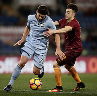 Calcio, ottavi di finale di Tim Cup: Roma vs Sampdoria. Roma, stadio Olimpico, 19 gennaio 2017.<br /> Sampdoria's Matias Silvestre, left, is challenged by Roma&rsquo;s Stephan El Shaarawy during the Italian Cup round of 16 football match between Roma and Sampdoria at Rome's Olympic stadium, 19 January 2017.<br /> UPDATE IMAGES PRESS/Isabella Bonotto