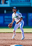 19 June 2018: Vermont Lake Monsters first baseman Alfonso Rivas in action against the Connecticut Tigers at Centennial Field in Burlington, Vermont. The Lake Monsters defeated the Tigers 5-4 in the conclusion of a rain-postponed Lake Monsters Opening Day game started June 18. Mandatory Credit: Ed Wolfstein Photo *** RAW (NEF) Image File Available ***