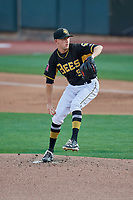Salt Lake Bees starting pitcher Griffin Canning (9) delivers a pitch to the plate against the Nashville Sounds at Smith's Ballpark on July 27, 2018 in Salt Lake City, Utah. The Bees defeated the Sounds 8-6. (Stephen Smith/Four Seam Images)