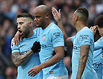 Vincent Kompany of Manchester City celebrates scoring during the premier league match at the Etihad Stadium, Manchester. Picture date 7th April 2018. Picture credit should read: Simon Bellis/Sportimage