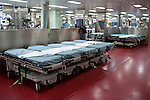 Beds stand ready to accept patients on board the Casualty Receiving area on the USNS Comfort, a naval hospital ship, before its mission to help survivors of the earthquake in Haiti on Sunday, January 17, 2010 in the Atlantic Ocean off the coast of the United States.