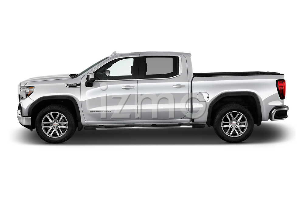 Car driver side profile view of a 2019 GMC Sierra 1500 SLT 4 Door Pick Up