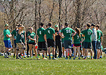 30 April 2016: The Vermont Commons School Flying Turtles Varsity Ultimate Team listens to Coach Jake prior to a game against Essex High School in the Champlainships Ultimate Disk Tournament at the Williston Regional Center in Williston, Vermont. Mandatory Credit: Ed Wolfstein Photo *** RAW (NEF) Image File Available ***