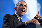 US President Barack Obama delivers remarks on immigration reform, at the Congressional Hispanic Caucus Institute's 37th Annual Awards Gala, in Washington DC, USA, 02 October 2014.<br /> Credit: Michael Reynolds / Pool via CNP