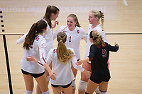 STANFORD, CA - November 15, 2017: Audriana Fitzmorris, Kathryn Plummer, Merete Lutz, Meghan McClure, Jenna Gray, Morgan Hentz at Maples Pavilion. The Stanford Cardinal defeated USC 3-0 to claim the Pac-12 conference title.