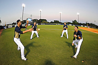 2 March 2012:  FIU players toss a ball around prior to the game as the FIU Golden Panthers defeated the Brown University Bears, 6-5, at University Park Stadium in Miami, Florida.