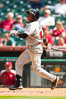 Jamodrick McGruder #2 of the Texas Tech Red Raiders follows through on his swing against the Arkansas Razorbacks at Minute Maid Park on March 2, 2012 in Houston, Texas.  The Razorbacks defeated the Red Raiders 3-1.  Brian Westerholt / Four Seam Images