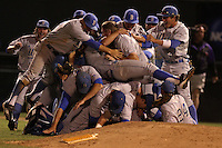 The UCLA Bruins celebrate beating the TCU Horned Frogs and winning the Los Angeles super regional and earning a trip to the college world series at Jackie Robinson Stadium on June 9, 2012 in Los Angeles,California. UCLA defeated TCU 4-1.(Larry Goren/Four Seam Images)