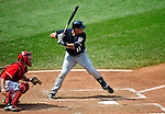 23 August 2009: Milwaukee Brewers' catcher Mike Rivera in action against the Washington Nationals at Nationals Park in Washington, DC. The Nationals defeated the Brewers 8-3 to take the third game of their four-game series, snapping a five games losing streak. Mandatory Credit: Ed Wolfstein Photo
