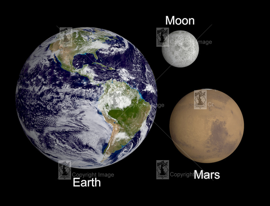 Earth moon and mars compared.tif | RON MILLER/BLACK CAT STUDIOS