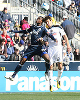 Stefani Miglioranzi#6 of the Philadelphia Union goes up for a header against Gershon Koffie#28 of the Vancouver Whitecaps during an MLS match at PPL Park in Chester, PA. on March 26 2011. Union won 1-0.