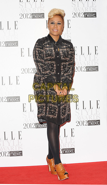 Emeli Sande.The ELLE Style Awards 2012, Savoy Hotel, London, England,.13th February 2012.full length square squares print tights platform leather shoes peep toe black print dyed blonde hair .CAP/BEL.©Tom Belcher/Capital Pictures.