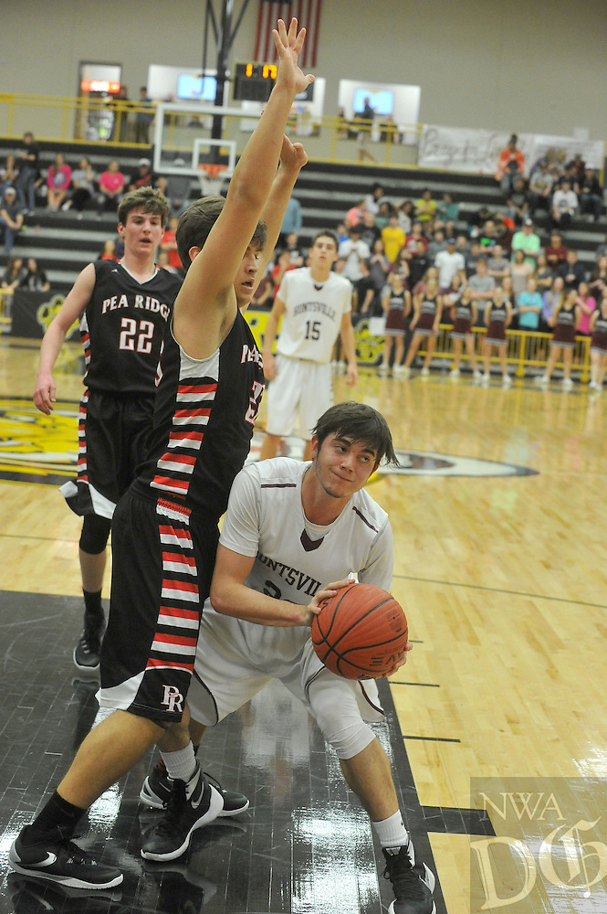 NWA Democrat-Gazette/MICHAEL WOODS &bull; @NWAMICHAELW<br /> Huntsville vs Pea Ridge during the boys 4A-1 District Tournament in Prairie Grove Saturday February 20, 2016.  Visit nwadg.com/photos to see more photographs from the game.