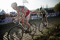Dieter Vanthourenhout (BEL/Sunweb-Napoleon Games) & Sven Vanthourenhout (BEL/Crelan-AADrinks) up the Koppenberg cobbles<br /> <br /> Koppenbergcross 2014