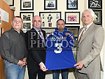 Founder of DDI Raymond Whitehead, David Kelly Chairperson of Welcome FC youth Club, Pat Greene Leader of DDI and Anthony Connor at the launch in Drogheda Boxing Club Moneymore. Photo:Colin Bell/pressphotos.ie