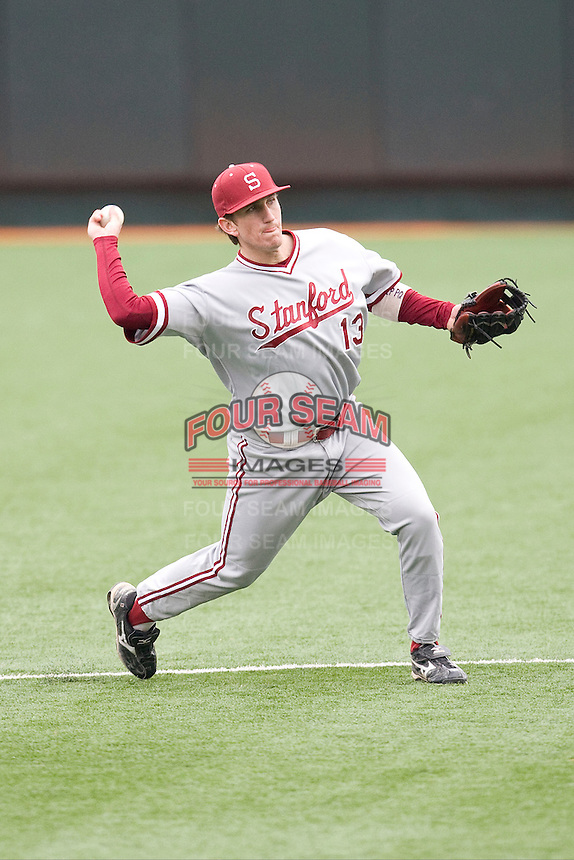 Colin Walsh of the Stanford Cardinal against the Texas Longhorns at  UFCU Disch-Falk Field in Austin, Texas on Friday February 26th, 2100.  (Photo by Andrew Woolley / Four Seam Images)