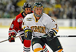 14 November 2008: University of Vermont Catamount forward Justin Milo, a Sophomore from Edina, MN, in action against the Northeastern University Huskies at Gutterson Fieldhouse in Burlington, Vermont. The Catamounts fell to the Huskies 5-3...Mandatory Photo Credit: Ed Wolfstein Photo