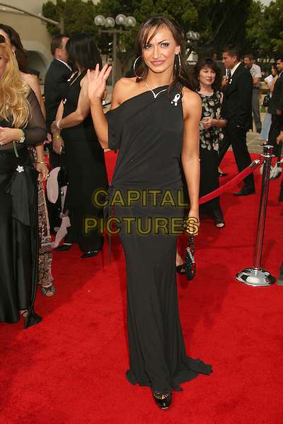 KARINA SMIRNOFF.2007 NCLR ALMA Awards at the Pasadena Civic Center,.Pasadena, California, USA,.1 June 2007..Full length black one shoulder dress hand waving.CAP/ADM/BP.©Byron Purvis/AdMedia/Capital Pictures.