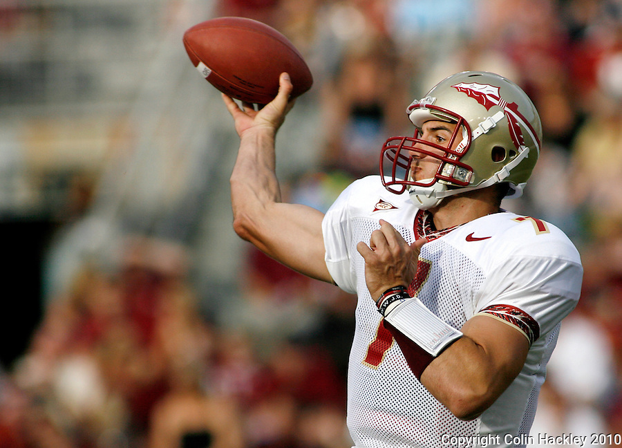 TALLAHASSEE, FL 4/10/10-FSU-SPRING FB10 CH-Gold's Christian Ponder throws during first half Spring Game action Saturday at Doak Campbell Stadium in Tallahassee. .COLIN HACKLEY PHOTO